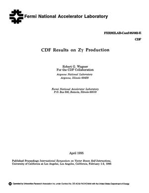 Primary view of object titled 'CDF results on Z{gamma} production'.