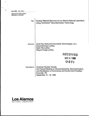 Primary view of object titled 'Nuclear Material Recovery at Los Alamos National Laboratory Using TechXtract{reg_sign} Decontamination Technology'.