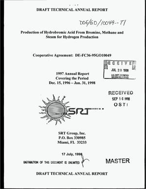 Primary view of object titled 'Production of hydrobromic acid from bromine, methane and steam for hydrogen production. 1997 annual report, December 15, 1996--January 31, 1998'.