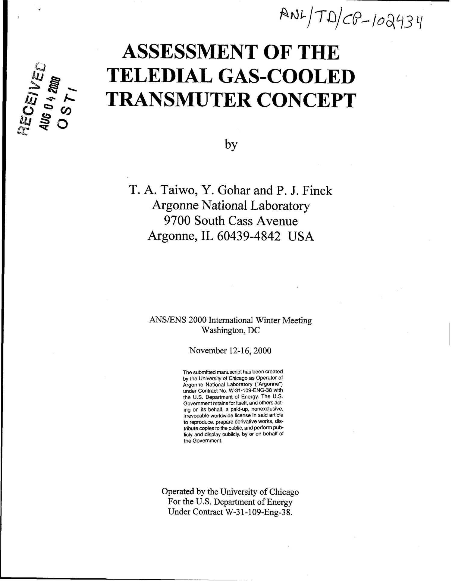 Assessment of the teledial gas-cooled transmuter concept                                                                                                      [Sequence #]: 1 of 8