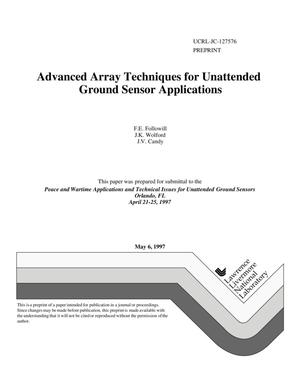 Primary view of object titled 'Advanced array techniques for unattended ground sensor applications'.