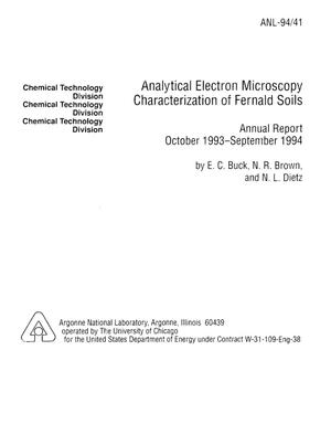 Primary view of object titled 'Analytical electron microscopy characterization of Fernald soils. Annual report, October 1993--September 1994'.