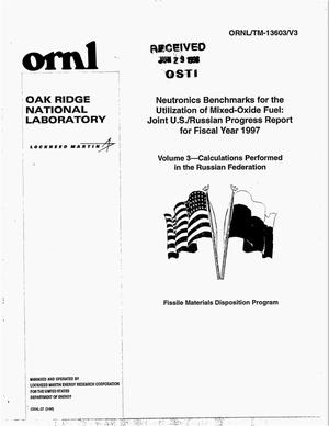 Primary view of object titled 'Neutronics Benchmarks for the Utilization of Mixed-Oxide Fuel: Joint US/Russian Progress Report for Fiscal 1997. Volume 3 - Calculations Performed in the Russian Federation'.
