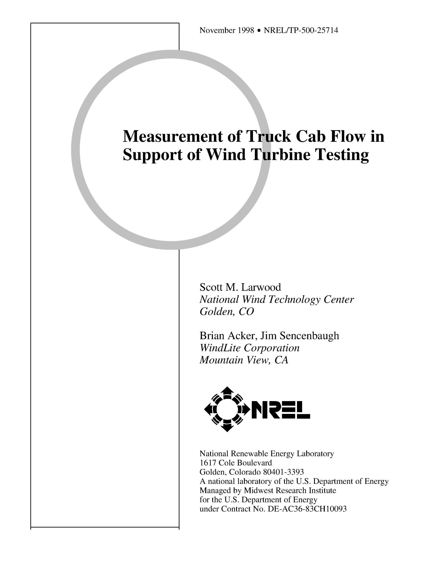 Measurement of Truck Cab Flow in Support of Wind Turbine Testing                                                                                                      [Sequence #]: 1 of 18