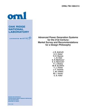 Primary view of object titled 'Advanced power generation systems for the 21st Century: Market survey and recommendations for a design philosophy'.