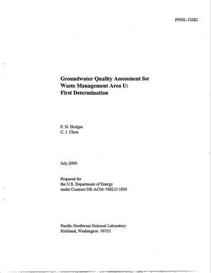 Primary view of object titled 'Groundwater Quality Assessment for Waste Management Area U: First Determination'.