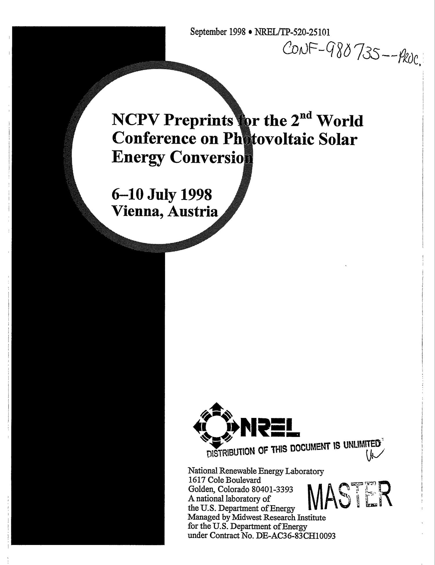 NCPV preprints for the 2. world conference on photovoltaic solar energy conversion                                                                                                      [Sequence #]: 1 of 144