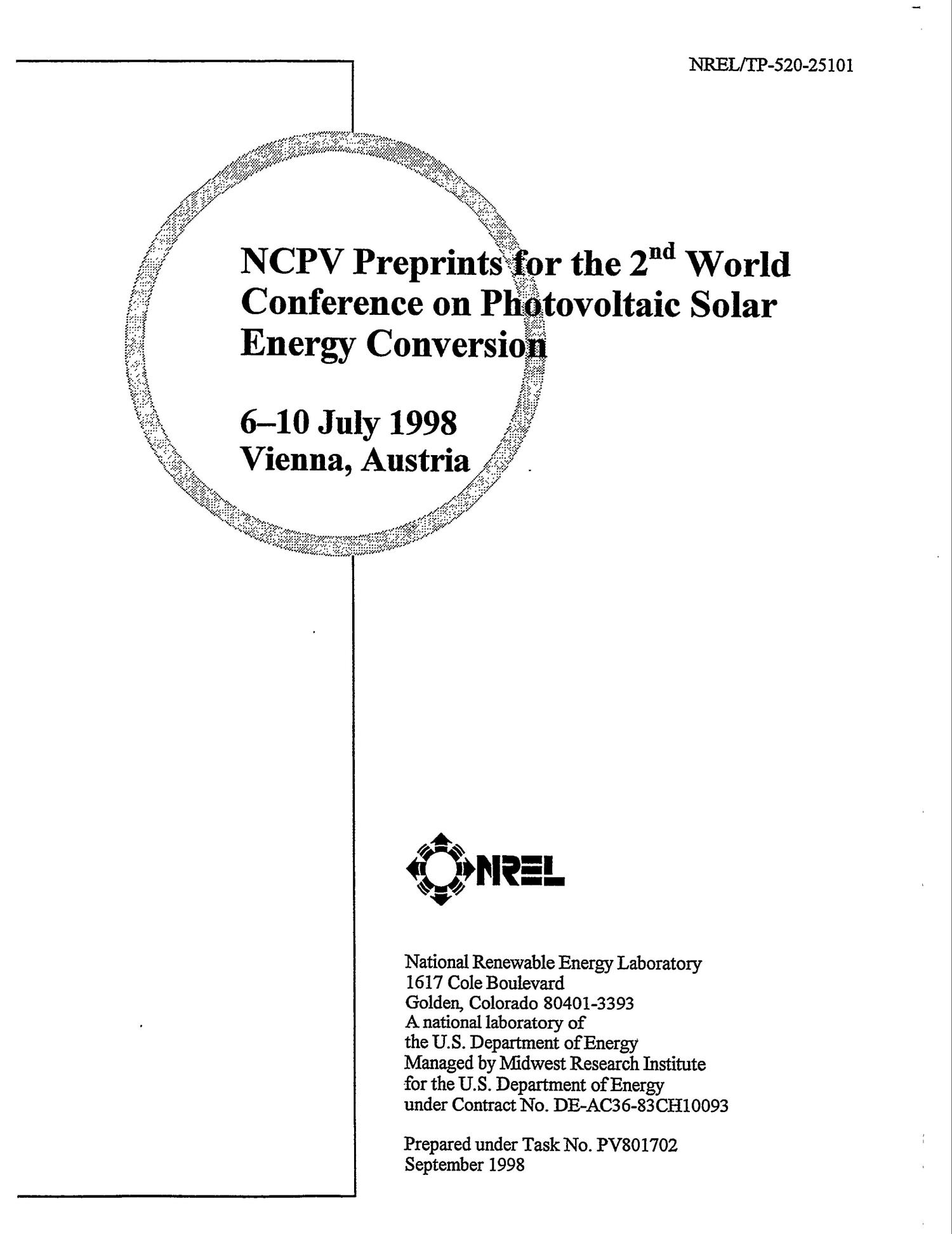 NCPV preprints for the 2. world conference on photovoltaic solar energy conversion                                                                                                      [Sequence #]: 2 of 144
