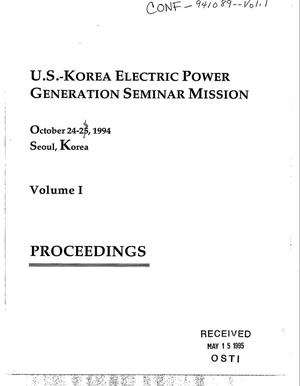 Primary view of object titled 'US-Korea Electric Power Generation Seminar Mission: Proceedings, Volume 1'.