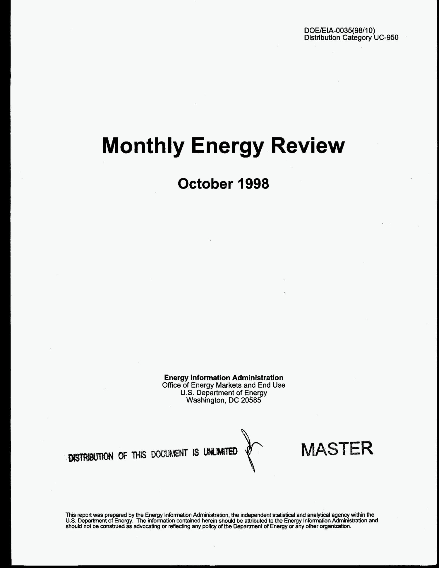 Monthly energy review, October 1998                                                                                                      [Sequence #]: 1 of 192