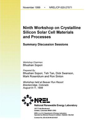 Primary view of object titled 'Ninth workshop on crystalline silicon solar cell materials and processes: Summary discussion sessions'.