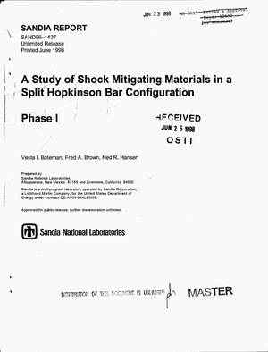 Primary view of object titled 'A study of shock mitigating materials in a split Hopkinson bar configuration. Phase 1'.