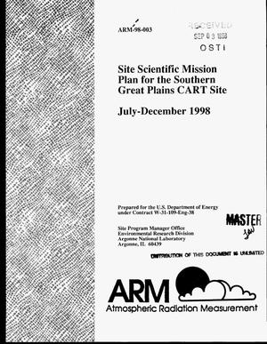 Primary view of object titled 'Site scientific mission plan for the Southern Great Plains CART site: July--December 1998'.