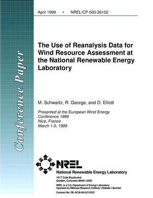 Primary view of object titled 'The Use of Reanalysis Data for Wind Resource Assessment at the National Renewable Energy Laboratory'.