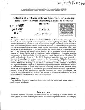 Primary view of object titled 'A flexible object-based software framework for modeling complex systems with interacting natural and societal processes.'.