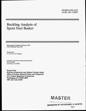 Primary view of object titled 'Buckling analysis of spent fuel basket'.