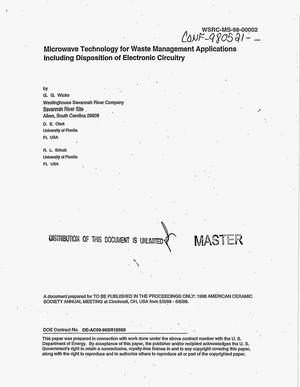 Primary view of object titled 'Microwave Technology for Waste Management Applications Including Disposition of Electronic Circuitry'.