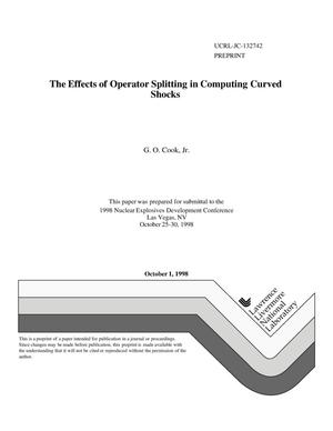 Primary view of object titled 'Effects of operator splitting in computing curved shocks'.