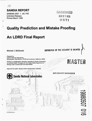 Primary view of object titled 'Quality prediction and mistake proofing: An LDRD final report'.