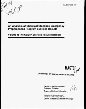 Primary view of object titled 'An analysis of Chemical Stockpile Emergency Preparedness Program exercise results. Volume 1: The CSEPP Exercise Results Database'.