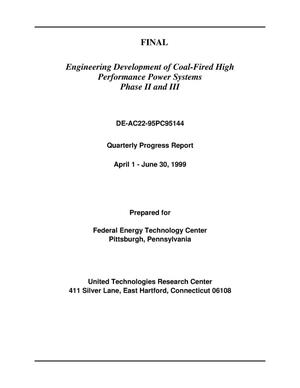Primary view of object titled 'Engineering development of coal-fired high performance power systems phase 2 and 3'.