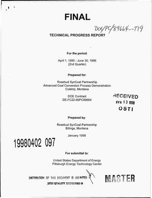 Primary view of object titled 'Advanced coal conversion process demonstration. Technical progress report, April 1--June 30, 1996'.