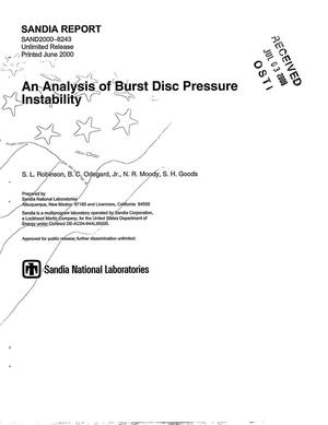 Primary view of object titled 'An Analysis of Burst Disc Pressure Instability'.