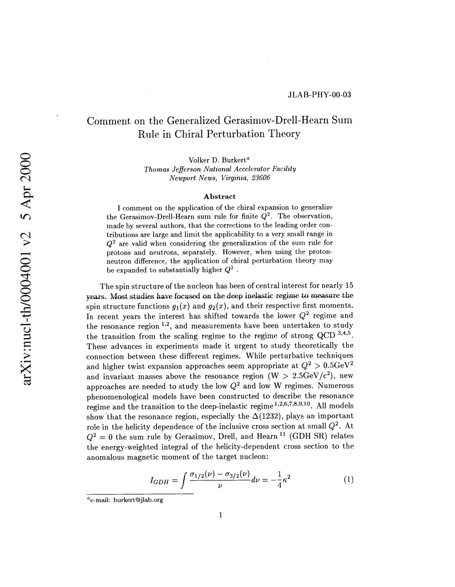 Comment on the generalized Gerasimov-Drell-Hearn sum rule in chiral perturbation theory                                                                                                      [Sequence #]: 1 of 5