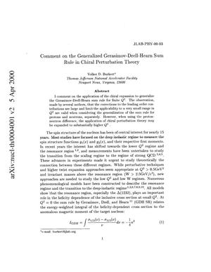 Primary view of object titled 'Comment on the generalized Gerasimov-Drell-Hearn sum rule in chiral perturbation theory'.