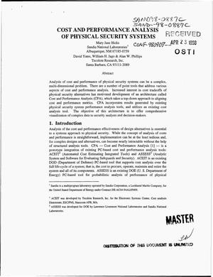 Primary view of object titled 'Cost and performance analysis of physical security systems'.