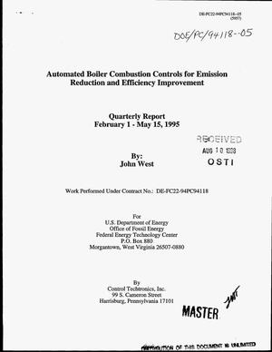 Primary view of object titled 'Automated boiler combustion controls for emission reduction and efficiency improvement. Quarterly report, February 1--May 15, 1995'.