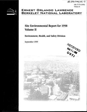 Primary view of object titled 'Site Environmental Report for 1998 Volume II'.