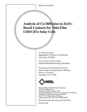 Primary view of object titled 'Analysis of Cu Diffusion in ZnTe-Based Contacts for Thin-Film CdS/CdTe Solar Cells'.