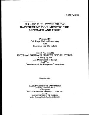 Primary view of object titled 'U.S.-EC Fuel Cycle Study: Background Document to the Approach and Issues'.