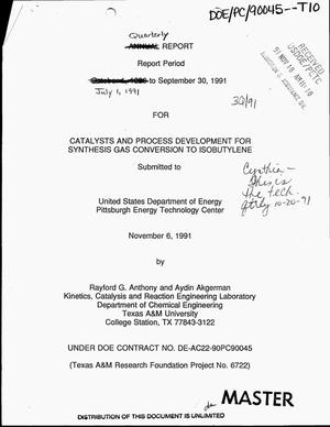Primary view of object titled 'Catalysts and process development for synthesis gas conversion to isobutylene. Quarterly report, July 1, 1991--September 30, 1991'.