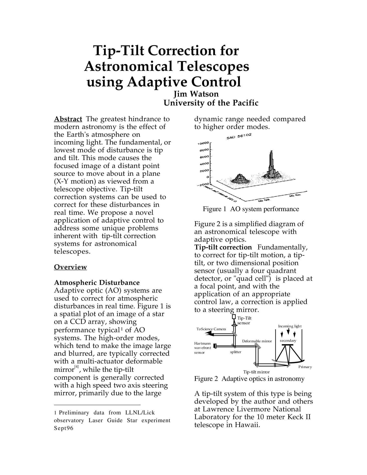 Tip tilt corection for astronomical telescopes using