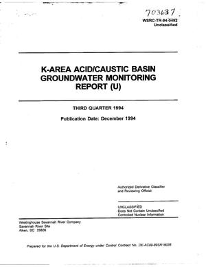 Primary view of object titled 'K-Area Acid/Caustic Basin groundwater monitoring report. Third quarter 1994'.
