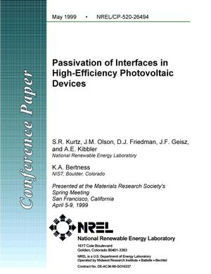 Primary view of object titled 'Passivation of Interfaces in High-Efficiency Photovoltaic Devices'.