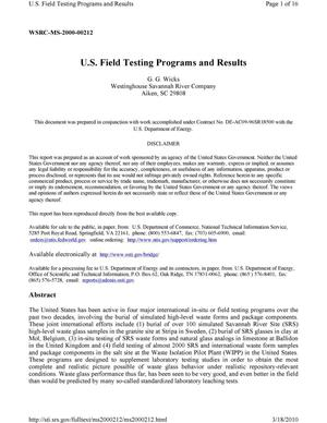 Primary view of object titled 'U.S. field testing programs and results'.