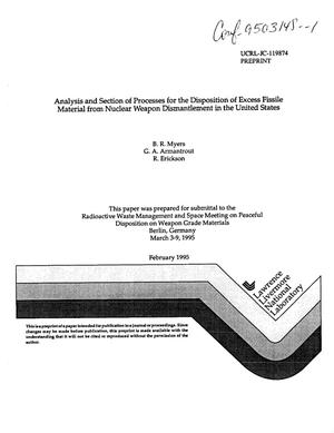 Primary view of object titled 'Analysis and section of processes for the disposition of excess fissile material from nuclear weapon dismantlement in the United States'.