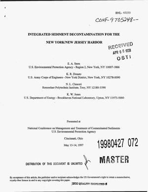 Primary view of object titled 'Integrated sediment decontamination for the New York/New Jersey Harbor'.