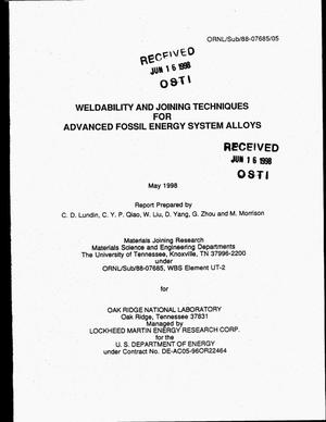 Primary view of object titled 'Weldability and joining techniques for advanced fossil energy system alloys'.