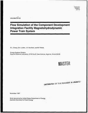 Primary view of object titled 'Flow simulation of the Component Development Integration Facility magnetohydrodynamic power train system'.