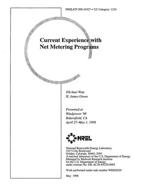Primary view of object titled 'Current experience with net metering programs'.