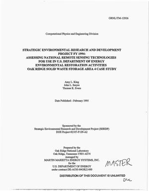 Primary view of object titled 'Strategic Environmental Research and Development Project FY 1994: Assessing national remote sensing technologies for use in US Department of Energy Environmental Restoration Activities, Oak Ridge Solid Waste Storage Area 4 case study'.