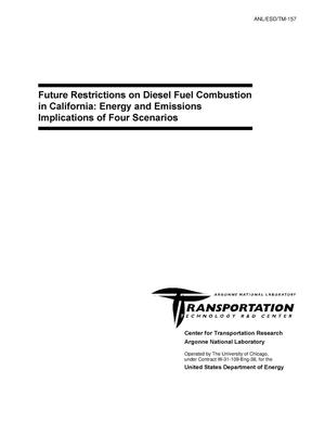 Primary view of object titled 'Future restrictions on diesel fuel combustion in California: Energy and emissions implications of four scenarios'.