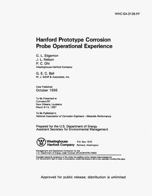 Primary view of object titled 'Hanford prototype corrosion probe operational experience'.