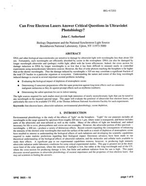 Primary view of object titled 'CAN FREE ELECTRON LASERS ANSWER CRITICAL QUESTIONS IN ULTRAVIOLET PHOTOBIOLOGY?'.