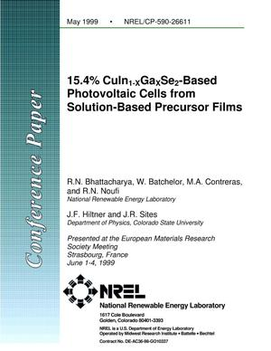 Primary view of object titled '15.4% CuIn1-XGaXSe2-Based Photovoltaic Cells from Solution-Based Precursor Films'.