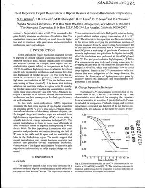 Primary view of object titled 'Field dependent dopant deactivation in bipolar devices at elevated irradiation temperatures'.
